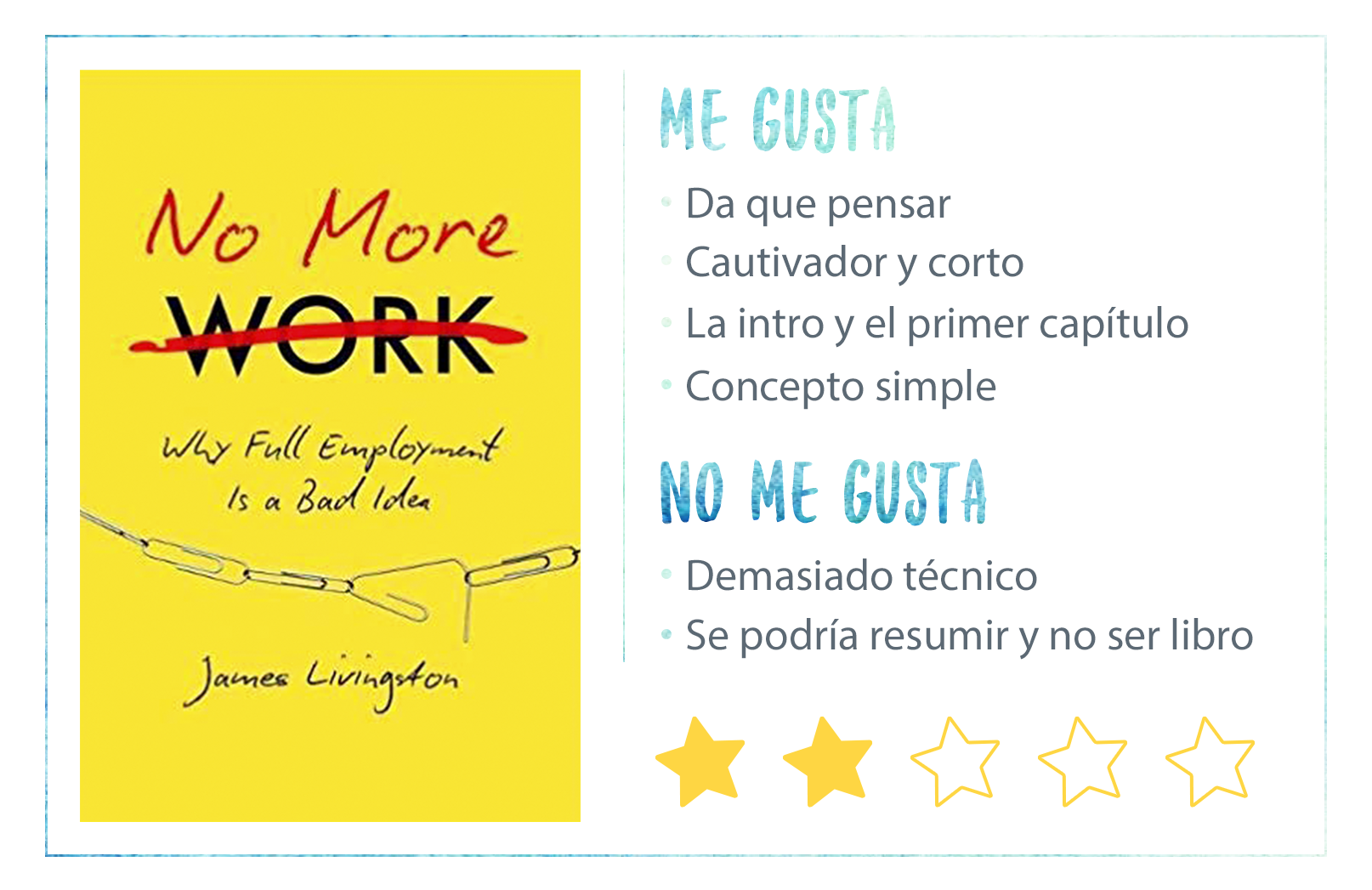 No More Work James Livingston Nota